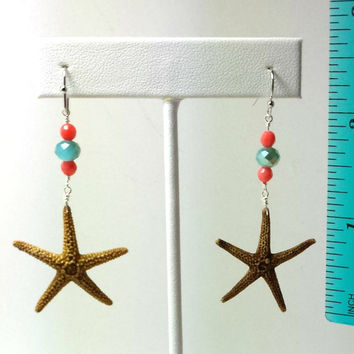 Real starfish, coral, and blue crystal, handmade beach earrings