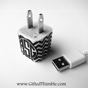 Chevron Monogram Iphone Charger Decal / Iphone Charger Wrap