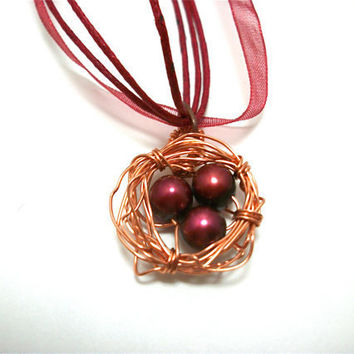 Cranberry Fresh Water Pearls Birds Nest Charm by moonknightjewels