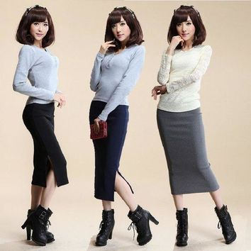 DK7G2 2016 Autumn Winter Women Skirt Wool Rib Knit Long Skirt Faldas Package Hip Split Skirts  A919