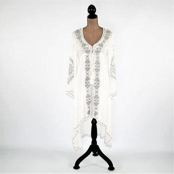 Long Sleeve White Dress Embroidered Hippie Boho Dress Bohemian Bell Sleeve Empire Waist Drawstring Hippie Clothes Womens Clothing