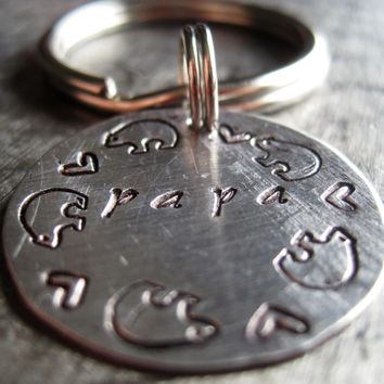 Papa Bear Key Chain, Hand Stamped