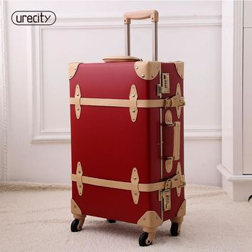 2018 New luggage fashion spinner rolling suitcase pu genuine wheels digital suitcase protective covers trolley travel luggage