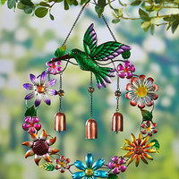 Metallic Garden Wind Chime Butterfly Hummingbird Floral Wreath Bronze Chimes