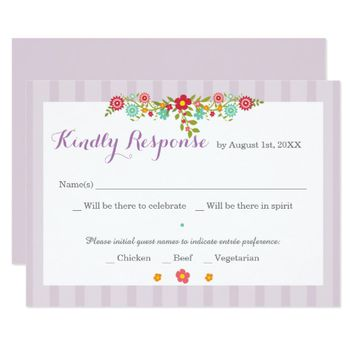 Floral Purple Stripes RSVP Card