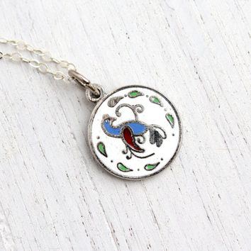 Vintage Distelfink Bird Hex Sign Necklace - 1970s Sterling Silver Folk Enamel Jewelry Happiness & Good Fortune