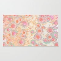 Peach and Gold Daisies Rug by Jenartanddesign