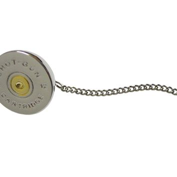 Gold and Silver Toned Shot Gun Shell Design Tie Tack
