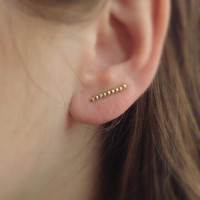 Gold EarPins, Gold Ear Cuff, Gold Ear Climber, Sterling Silver Gold Filled Earrings, Boho Studs, Minimalist Earrings