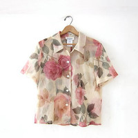 Vintage floral print blouse. Sheer floral top. Cropped Floral shirt. Open back cut out top. Button front short sleeve shirt.