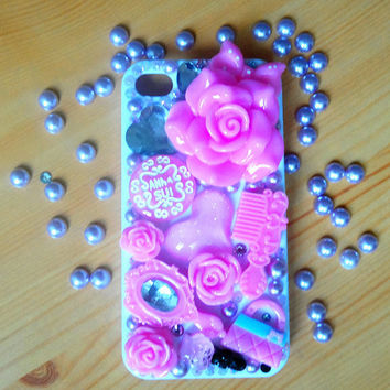 iphone 4, iphone 4s case.DIY princess case.rose and jewelry case art.white and pink