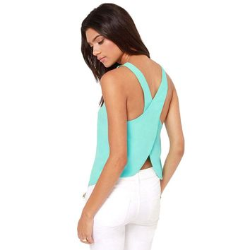 Sexy Chiffon Tank Top 2018 Open Back Round Neck Cross Suspenders Back Summer Cool Six Colors S-XXXL Plus Size Women Top