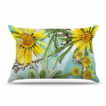 "Liz Perez ""Sunny Day"" Yellow Floral Pillow Case"