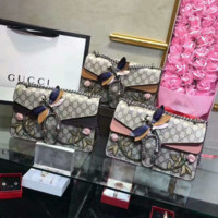 Gucci  Dragonfly  Women Shopping Leather Metal Chain Crossbody Shoulder Bag