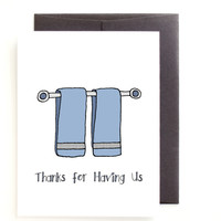 Hostess Thank You Card - Thanks for Letting us Stay by Yellow Daisy Paper Co.