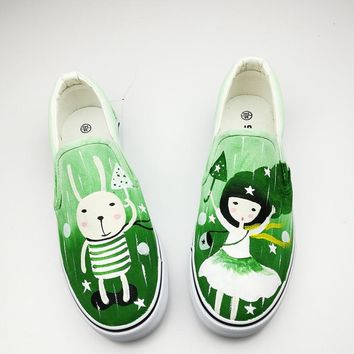 Rainy Day Girls And Rabbit Hand Painted Canvas Board Shoes Nmd 2017 Summer Rihanna Cha