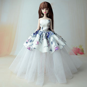 NK 2017 New handmake wedding Dress Fashion Clothing Gown For Barbie doll Free shipping