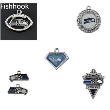 Fishhook 10pcs Aliexpress Collections Hot Selling Seahawk Football Team Logo Charms Fashion Pendant Jewelry for Women/Men