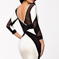 Long Sleeved Mesh Cutout Black White Midi Dress with V -Back