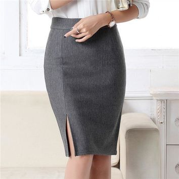 DCCKF4S New Fashion Women Office Formal Pencil Skirt Autumn Winter Elegant Slim Front Slit Midi Skirt Black/Gray/Red/Blue OL Skirts