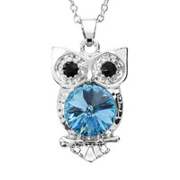 Illuminaire Crystal Silver-Plated Owl Pendant - Made with Swarovski Elements (Blue)