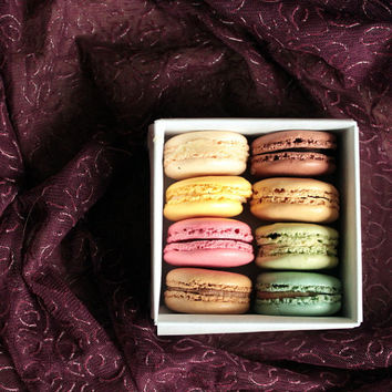 Food photography, French macarons, kitchen art, macro photography, macaron box, Paris wall decor 5x7 (13x18) 6x6 (15x15) F R E E  SHIPPING