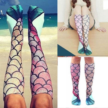 3D Women Mermaid Socks Girl High Knee Long Socks Beach Cosplay Costume Stockings FAN