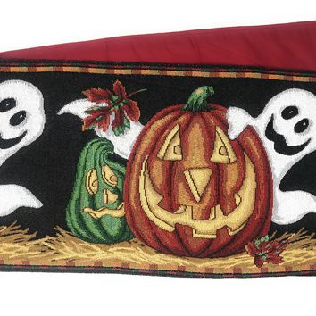 DaDa Bedding Halloween Pumpkins Table Runner, Harvest Orange Tapestry (12914)