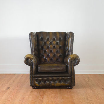 SALE Vintage Brown Tufted Leather Wingback Chesterfield Library Club Chair