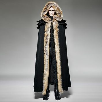 Fashion Gothic Punk Fall Winter Long Wool Collar Cloak Coat Punk Men Vintage Long Trench Capes Warm Overcoats With Hooded