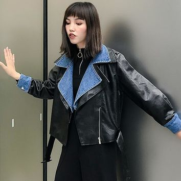 Trendy New Fashion 2018 PU Leather Women's Jacket Long Sleeve Lace Up Patchwork Denim Coats AT_94_13