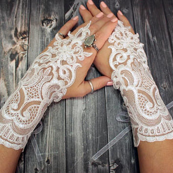 White lace bridal gloves wedding accessories bridal white gloves fingerhoop lace gloves, bridal accessories, french lace
