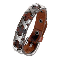 Fashion Jewelry Hologram Bracelets Rock Bikers Wide Bangle Rivet Type X Leather Bracelet Men Casual Vintage Punk Bracelet 0609