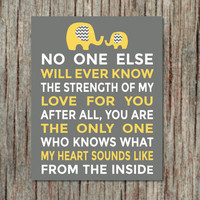 Elephant Decor NURSERY WALL ART Yellow Grey Baby Girl Boy Nursery Room Instant Download Printable Wall Art No One Else Baby Wall Art 007