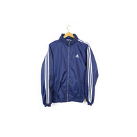 90s adidas windbreaker / vintage 1990s / parka retractible hood / rain jacket / blue / racing stripes / hip hop / retro classic / M - L