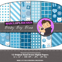 Baby Boy Blue, Teddy Bear, Set of 12 Colorful Illustrations, Digital Download, Great for Scrapbooking, Paper Making, Baby Boy Birthday,