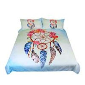 BeddingOutlet Dreamcatcher Bedding Set Queen Floral Rose Quilt Cover With Pillowcases Feathers Print Bedclothes Blue Bed Set
