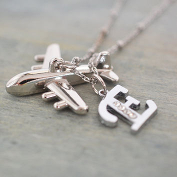 personalized airplane necklace, pilot graduation gift, flight attendant gift, unisex, pilot, initial necklace, travel jewelry, silver plane