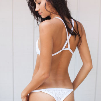 Kainalu Crochet Bikini Bottom in White