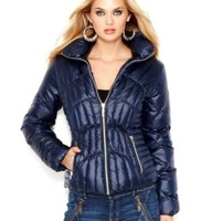 GUESS Quilted Down Puffer Jacket | macys.com