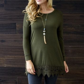 Olive-Green-Crochet-Trim-3/4-Sleeve-Top
