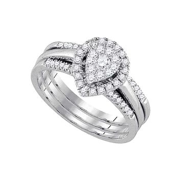 14k White Gold Round Diamond Teardrop Cluster 3-Piece Bridal Wedding Engagement Ring Set 1/2 Cttw - FREE Shipping (US/CAN)