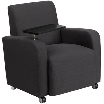 Flash Furniture Gray Fabric Guest Chair with Tablet Arm and Front Wheel Casters [BT-8217-GY-CS-GG]