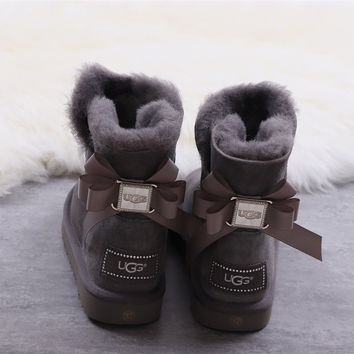 Ugg winter bow-knot boots women's dark grey shoes