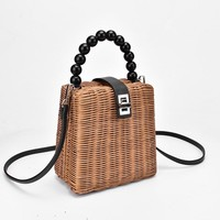 Capri Beaded Handle Woven Box Crossbody Bag