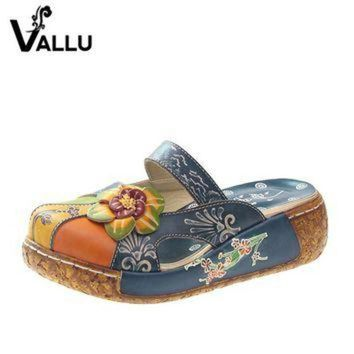 DCK7YE 2017 Summer Women Shoes Flat Slides Platform Sandals Genuine Leather Handmade Flower C
