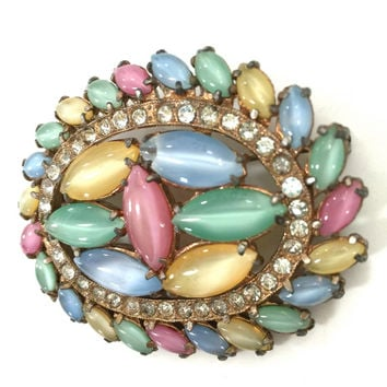 Pastel Moonstone Art Glass & Rhinestone Brooch, Open and Closed Back Pastel Marquis, Ice Crystal Accents, Gold Tone, Vintage Gift for Her