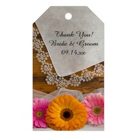 Daisy Trio and Lace Country Wedding Favor Tags