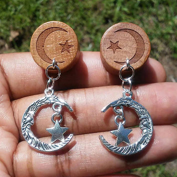 Organic Oak wood Crescent moon and star Double flare Ear Plugs, Gauges, 10mm, 12mm, 14mm, 18mm, 20mm, Body Jewelry