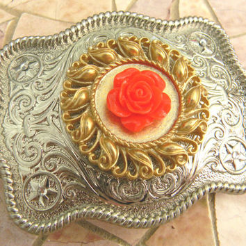 Silver Red Rose Belt Buckle, Gold Belt, Western Womens Country Red Rose Buckle, Flower Belt, Girls Belt Buckle, Cowgirl Rockabilly Rose